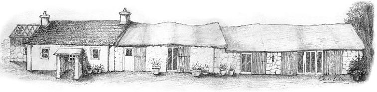 Line drawing of Ffynnon Clun, a Pembrokeshire longhouse